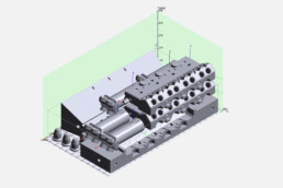 Arrangement of pressure parts in the virtual installation space of the VX1000 from voxeljet