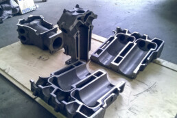 Disassembled casting mould of the motor