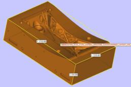 Top box CAD data of a voxeljet landing gear swing arm