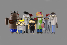 3D printed Android mascots