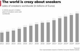 The global turnover of the sneaker industry