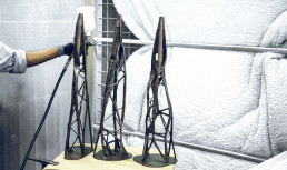 Cast bronze table legs with 3D printed investment casting models from voxeljet